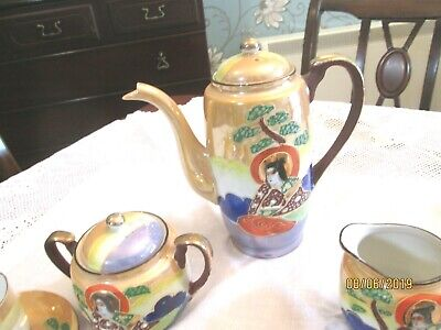 Vintage porcelain hand painted luster coffee set [ made in Japan ] 2