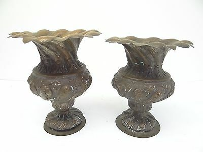Antique Old Repoussé Hand Hammered Metal Copper Ornate Decorative Planters Urns 3
