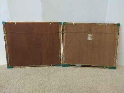 2 Antique Asian Framed Hand Paintings On Silk Behind Glass Bamboo Type Frame 4