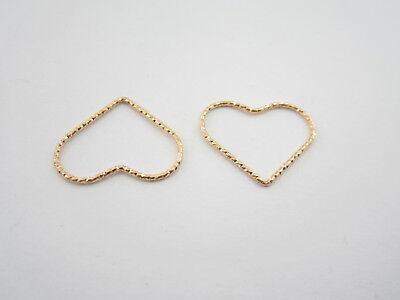 connettore cuore martellato argento 925 placcato oro giallo 20 x 16 mm 2 pezzi 2