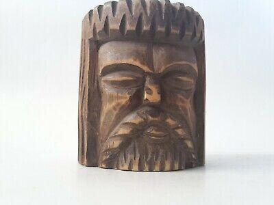 toller seltener Holz Mörser Apotheke antiker Stößel Pistill mit Gesicht RaR 7