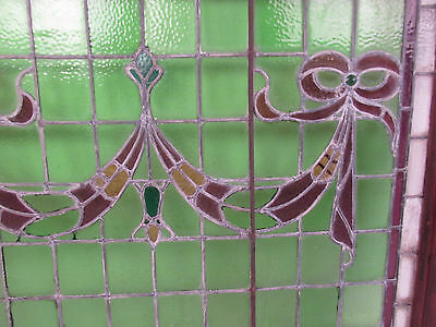 Vintage Stained Glass Ribbon Hanging Window (1265)NJ 5