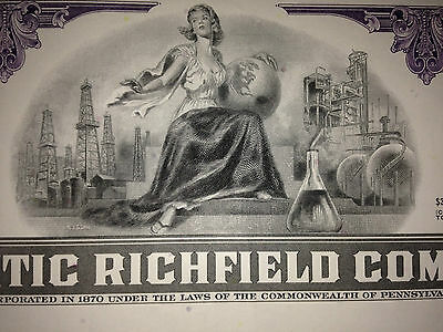 ARCO Atlantic Richfield gas oil authentic issued stock certificate part of BP 2