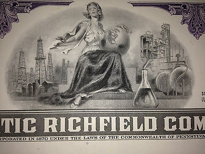 ARCO Atlantic Richfield gas oil original issued stock certificate now part of BP 2