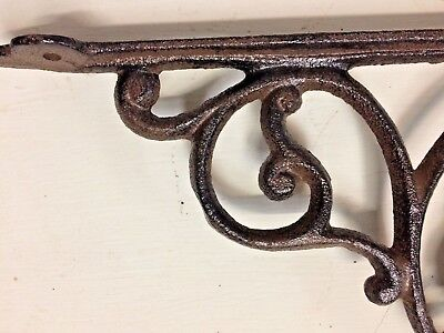 SET OF 2 WESTERN HORSE HEAD SHELF BRACKET BRACE, Rustic Brown Finish cast iron 4