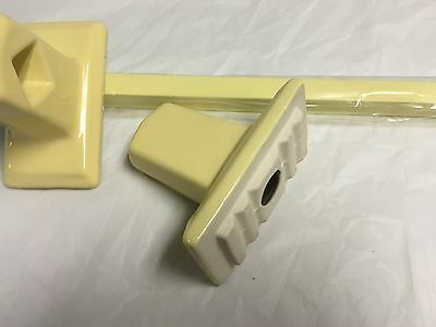 "1950's NEW OLD STOCK  Bathroom  Towel Bar Porcelain Ends Wood Bar YELLOW 26"" 6"