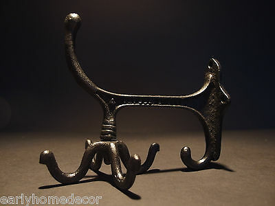 Antique Vintage Style BLACK Cast Iron Hook Rotating Bracket Spinning Coat Hanger