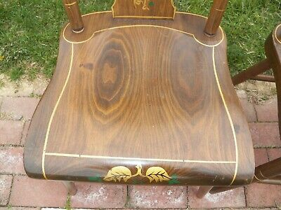Set Of 3 Stenciled Decorated Plank Seat EBERSOL Chairs PA. 1987 Rustic Primitive 6