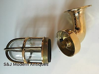 Vintage Industrial Wall Light Antique Retro Cage Bulkhead Gold Brass Ship Lamp 5