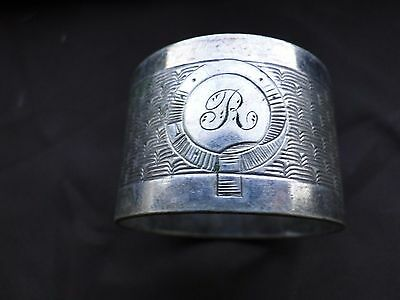 C 1930 SILVER PLATED NAPKIN RING ANTIQUE ENGLISH NICE SHAPE /& ART DECO STYLE