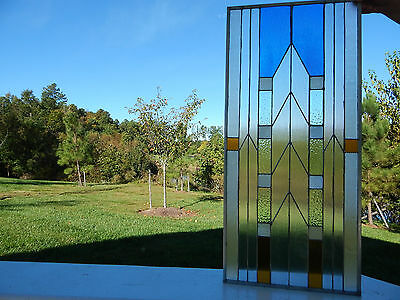 "METROPOLIS Stained Glass Window Panel Transom 15 1/4"" x 33 5/8"" 3"