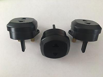 3x Quality US UE 2 pin to 3 pin UK Travel Adapter Plug 250v AC 13amp Black UK
