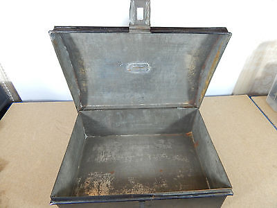 Vintage Tin Dome topper small storage chest Stationary etc 33cm x22cm hasp catch 9