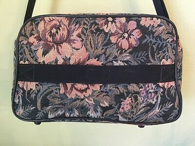 Vintage Jaguar Bag Carry On Tote Travel Luggage Overnight Tapestry Floral 5