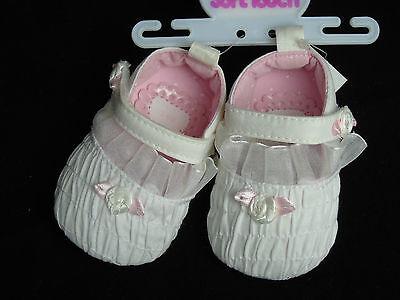 Schuhe Baby Ballarinas Ballerinas Taufe Feier 0- 3- 6- 12 Mon weiß mit Rose 4