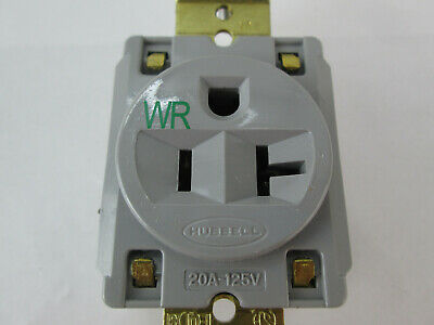 New Hubbell HBL Single Receptacle Gray Weather Resistant 20A 125V 2 Pole 3 Wire 9