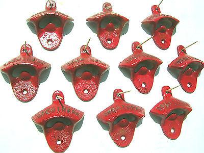 Ten Cast Iron Soda Pop Bottle Openers RED 12