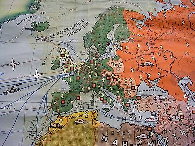 Schulwandkarte schöne alte Erde Weltkarte Deutschland 234x157c vintage map ~1955 2