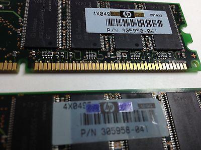 2x512MB HP 1GB PC2700U 333MHz DDR Low Density P//N 305958-041 Fully Tested