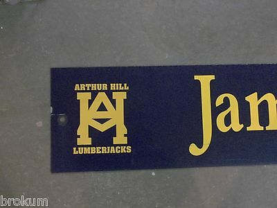 "Vintage ARTHUR HILL / JAMESON st STREET SIGN 42"" X 9"" GOLD LETTERING ON BLUE 2"