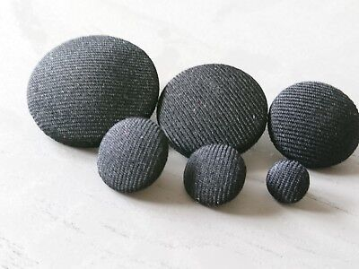 Black Suit Fabric Buttons 10mm 16mm 18mm 20mm 25mm 31mm 37mm Small & Large