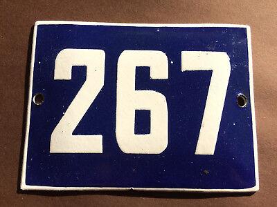 ANTIQUE VINTAGE ENAMEL SIGN HOUSE NUMBER 267 BLUE DOOR GATE STREET SIGN 1950's