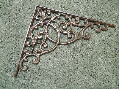 2 Cast Iron Antique Style HUGE Brackets Garden Braces RUSTIC Shelf Bracket Brace 2