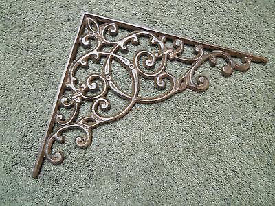 2 Cast Iron Antique Style HUGE Brackets Garden Braces RUSTIC Shelf Bracket Brace 2