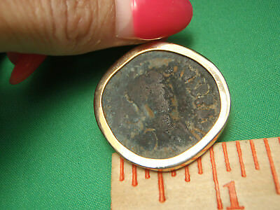Mounted in 14K Gold Byzantine bronze 491-518AD anastasius 1st AE Follis Coin 7