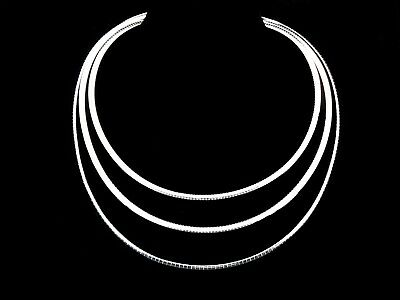 Solid 925 Sterling Silver Italian Flat Omega Chain Choker Necklace Made in Italy 4