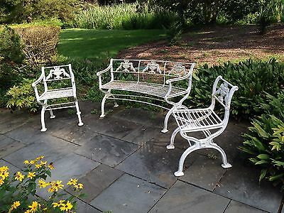 Rare 3 piece set Antique Neoclassical Cast Iron Garden Bench & chairs Victorian 2