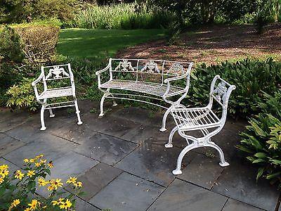 Rare 3 piece set Antique Neoclassical Cast Iron Garden Bench & chairs Victorian 2