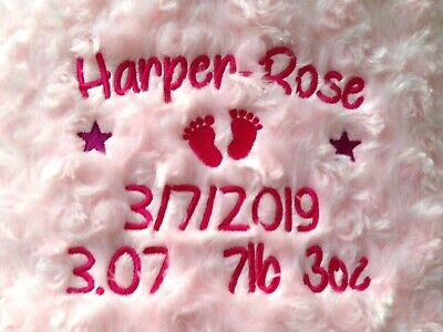 Personalised Baby Blanket Embroidered Soft Fluffy Gift 10