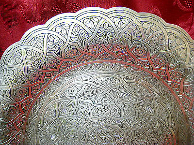 Solid Sterling Silver Egypt Persian Islamic Tray Platter Dish 429 Grams 2