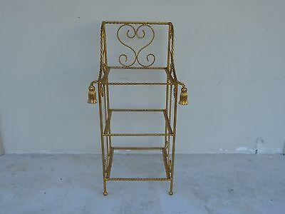 Elegant Italian Tole Gold Gilt Rope Etagere / Magazine Rack Perfect For Bathroom