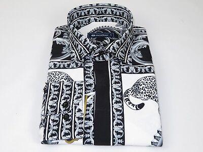 Men Crew T Shirt Makrom Turkey Medallion medusa Lion Floral 1233-412 Black white