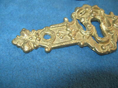 """4- Vintage Ornate Cast Solid Brass Figural 4.5"""" KEYHOLE COVER PLATES..Never Used 4"""