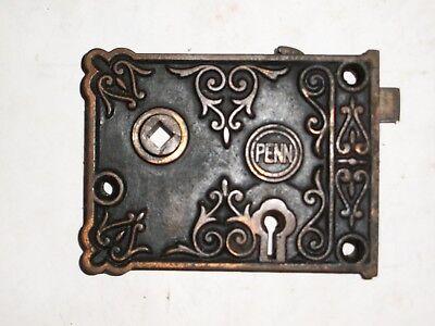 Antique Penn Rim Lock very ornate stamped 5000