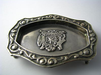 CHILEAN SOLID SILVER TRAY FOOTED ASHTRAY DISH 900 Silver Chile c1940s Excel Cond 5