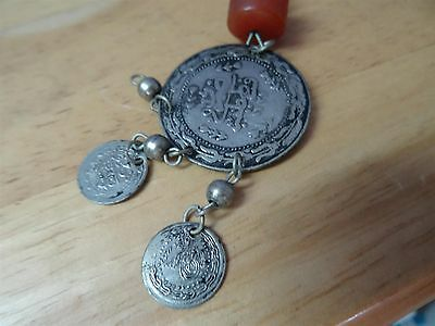Antique Silver ? Coins Folklore  Necklace 19th C. Ottoman & old amber Bedouin 9