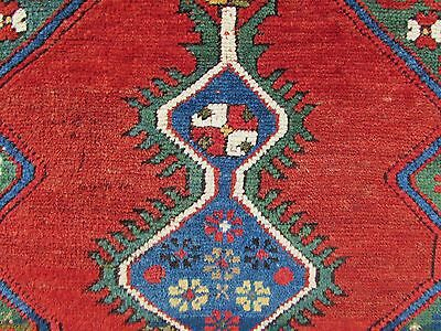 Antique Traditional Hand Made Caucasian Rug Red Green Wool Oriental Rug 142x99cm 5