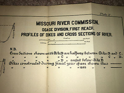 1893 Diagram Osage Division Profiles of Dikes & CrossSections MO River 2