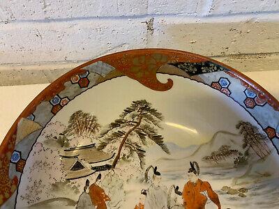 Antique Japanese Signed Kutani Porcelain Bowl w/ Figures in Landscape Decoration 2