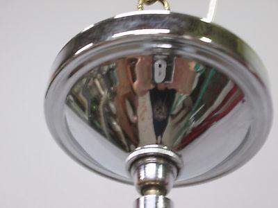 """Vintage Antique Art Deco Chrome Pendant Light Opal Crackle 12"""" Shade 41"""" Long A 10"""