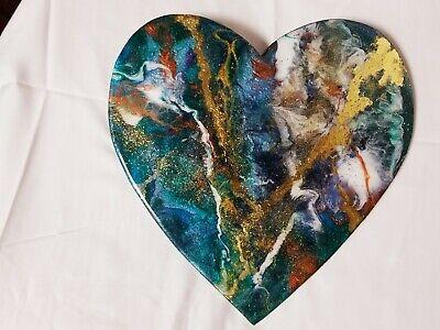 "12"" Resin Heart on Wood - Resin Art - Abstract Art - Resin Painting 2"