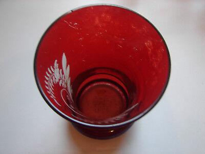 """antikes Badeglas """"Zur Erinnerung"""", rot gebeizt, original Biedermeier (98) 2"""