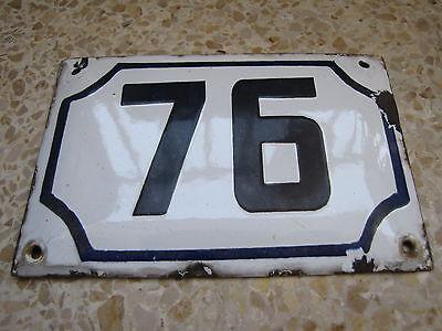 vintage PRE ISRAEL STATE PALESTINE enamel porcelain number 76 house  sign # 76 2