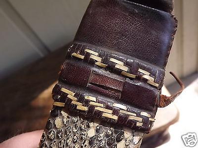 Authentic Vintage Hand Forged Bush Knife Alligator Crocodile Skin Sheath B