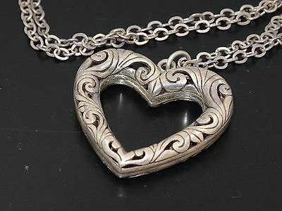 ANTIQUE VICTORIAN HEART PENDANT w/ HANDMADE CHAIN LINK STERLING NECKLACE 4