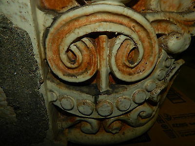 Antique Clay Fired Architectural Capitols, Heavy Glaze, Historical Building 6